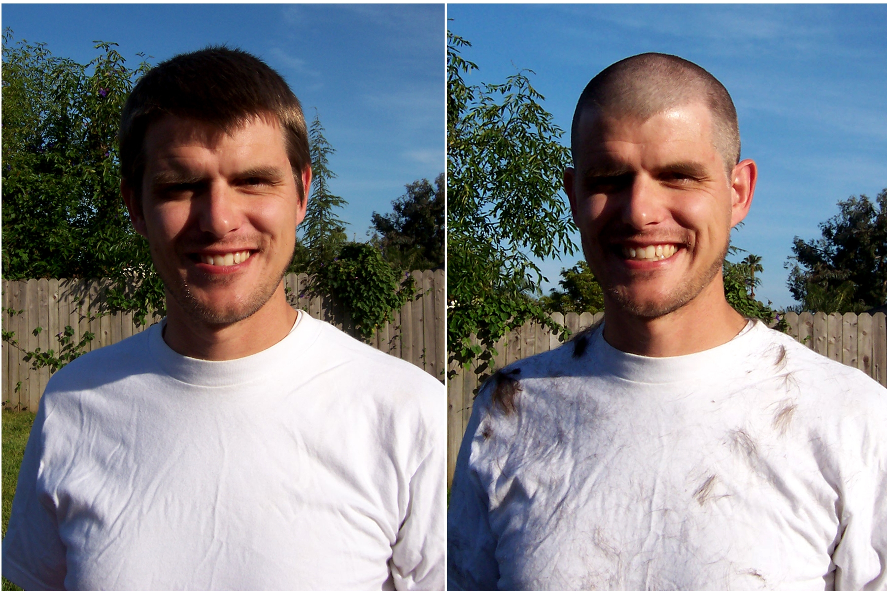 balding buzz cut before and after short hairstyle 2013
