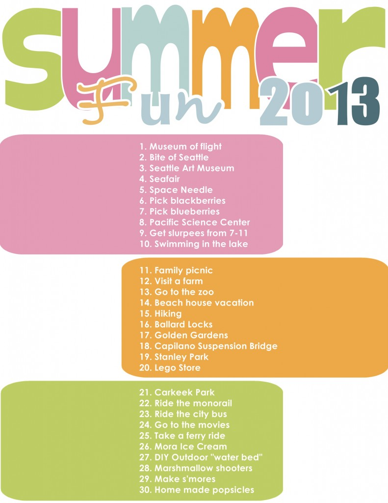 Summer to do list 2013
